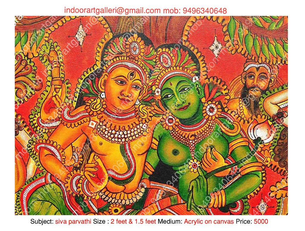 Siva parvathi mural 2 by indoorartgalleri on deviantart for Cost of mural painting