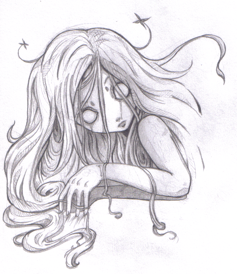Scary emo girl sketch :P
