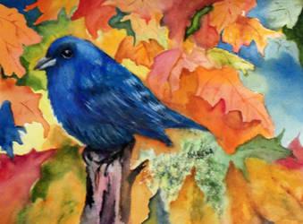 Watercolor Indigo Blue Bunting by aladyx
