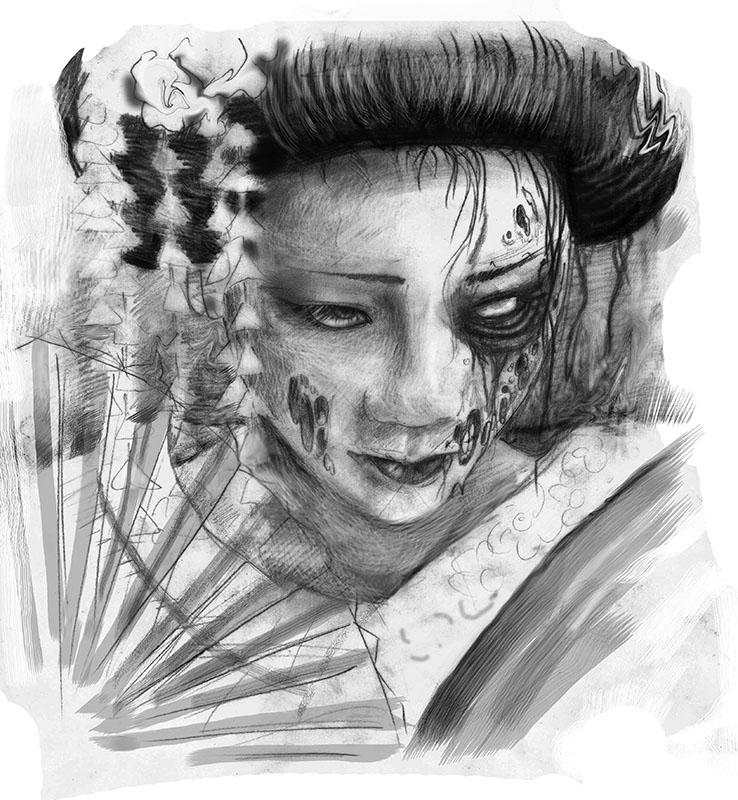 zombie geisha by aenema777 on deviantart. Black Bedroom Furniture Sets. Home Design Ideas
