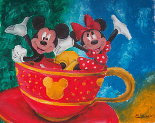 Mickey And Minnie In Tea Cup by billywallwork525
