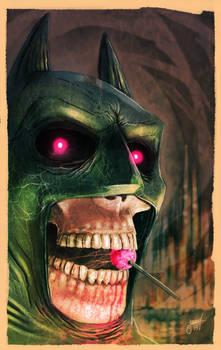 Undead Batman with a lollipop