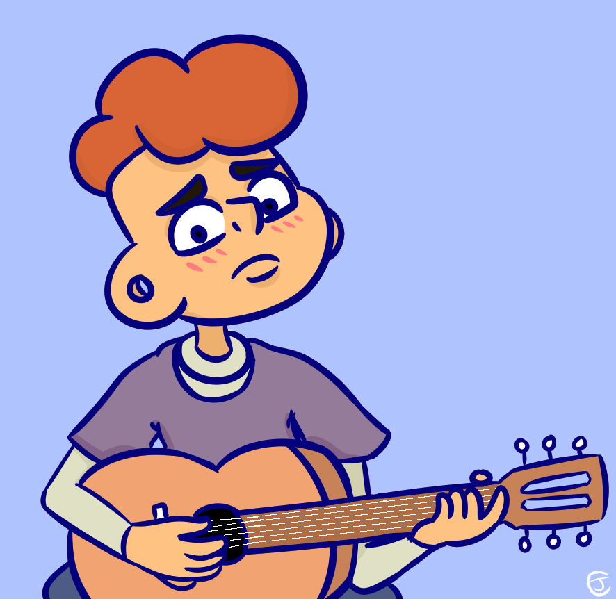 Lars Learning Guitar by ForestDraws