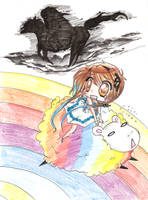 Aoh:chased by a headless knight on a rainbow sheep by NaruSparkles