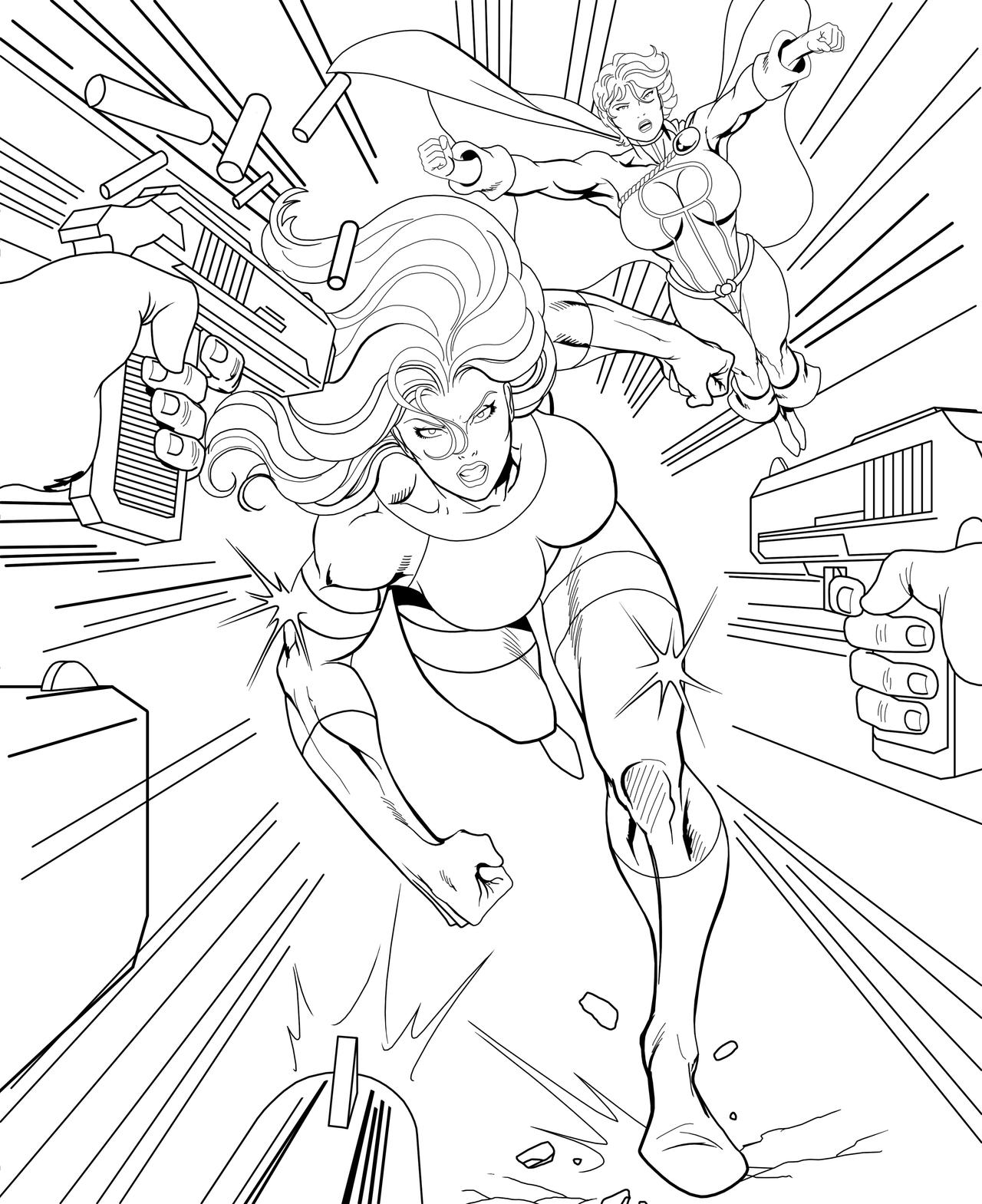 She hulk and power girl lineart by orionpax09 on deviantart for She hulk coloring pages