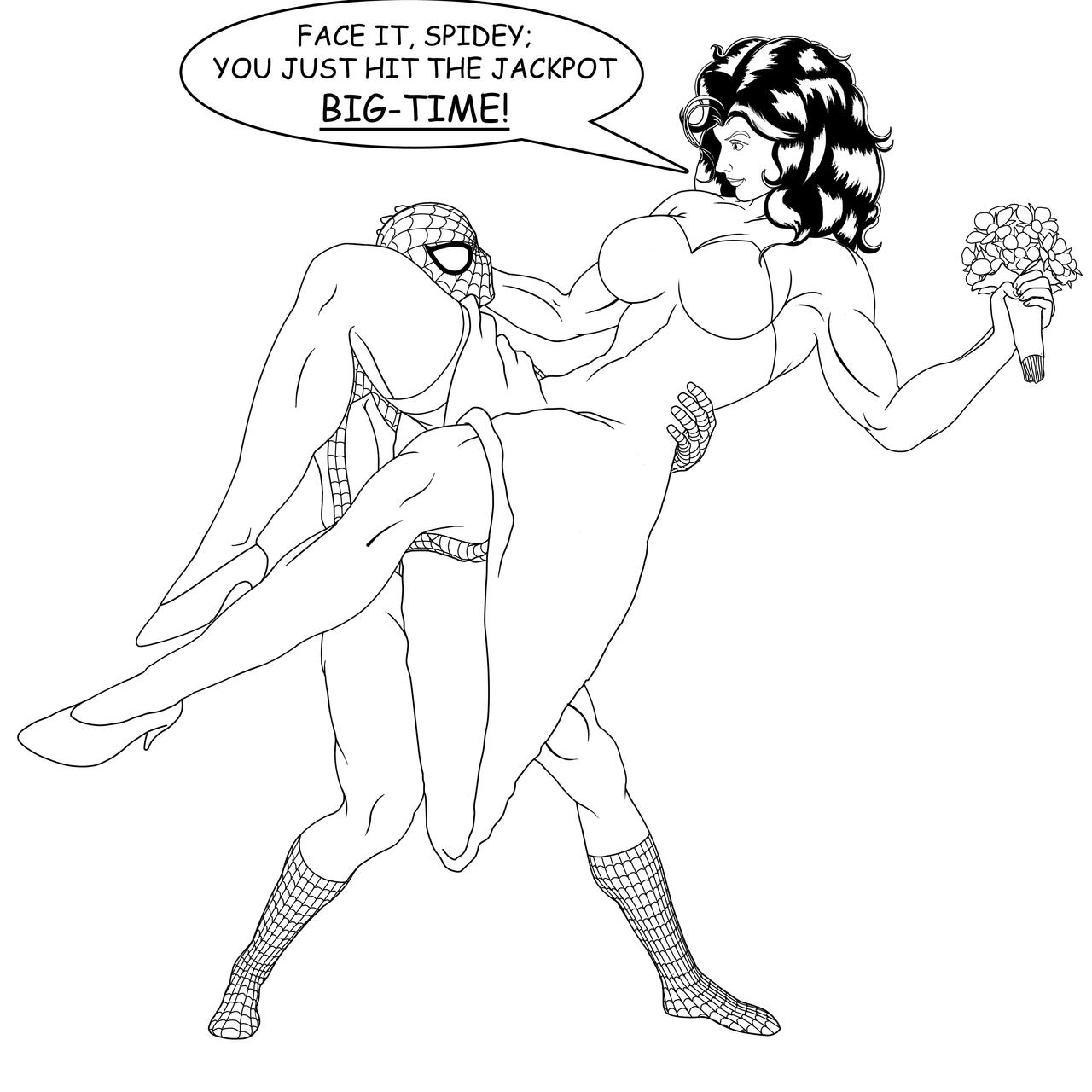 Spidey and Shulkie: Happily Ever After - Lineart by OrionPax09