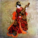 geisha with biwa