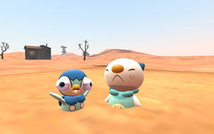 Piplup and Oshawott struggling in quicksand by CuteYoshiLover