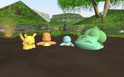 Pikachu's mudbath with friends