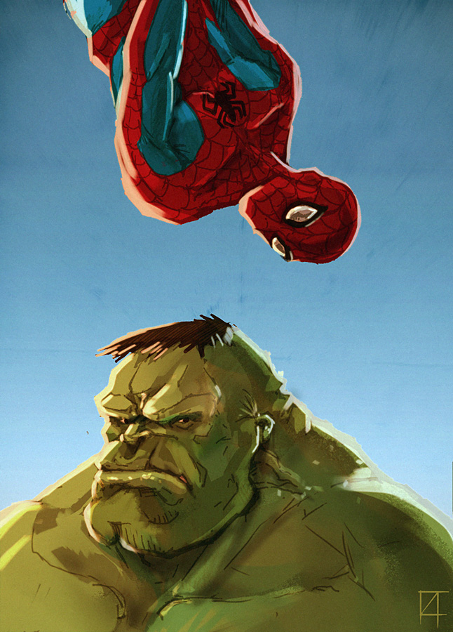spiderman and hulk by omend4