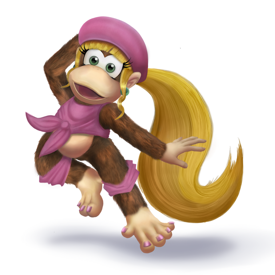 Dixie Kong For Smash 4 Transparent By Veemon Tamer On