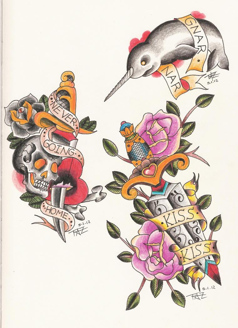 Traditional-ish Tattoo Flash by Tazza-Pufe on DeviantArt