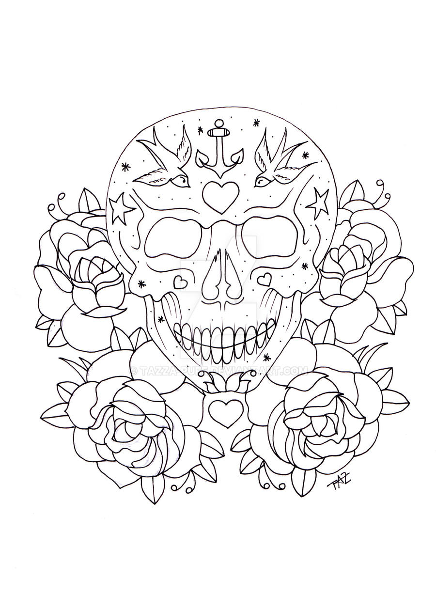 Skull Line Drawing Tattoo : Sugar skull line art by tazza pufe on deviantart