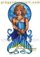 Rusty Fantasy Mermaid Redhead Sexy Pinup Art Greg  by HOT-FINS-MERMAIDS