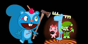 the banana splits cover with happy tree friends