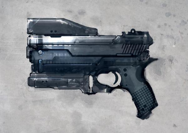 Speed painted sci-fi pistol by torvenius