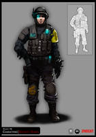 SYNDICATE concept - character security guard by torvenius