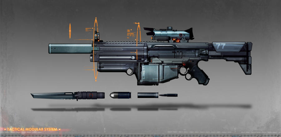 commissioned modual assault rifle concept art by torvenius on ...