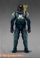 Commissioned concept art for soldier modular suit by torvenius