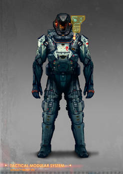 Commissioned concept art for soldier modular suit