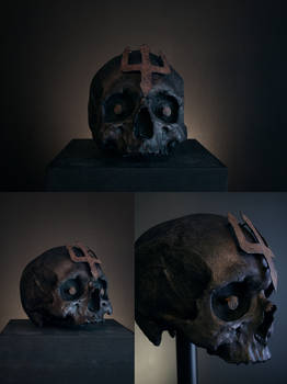 TRIDENT skull, rusted trident emblem with skull