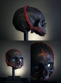 Vodou object 66 - mixed media skull sculpture.