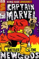 Captain Marvel Battles The New Gods by LarryKingUndead