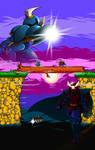 Shovel Knight vs. Rake Samurai by theinkBot