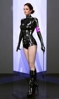 Eva Green latex catsuit fake