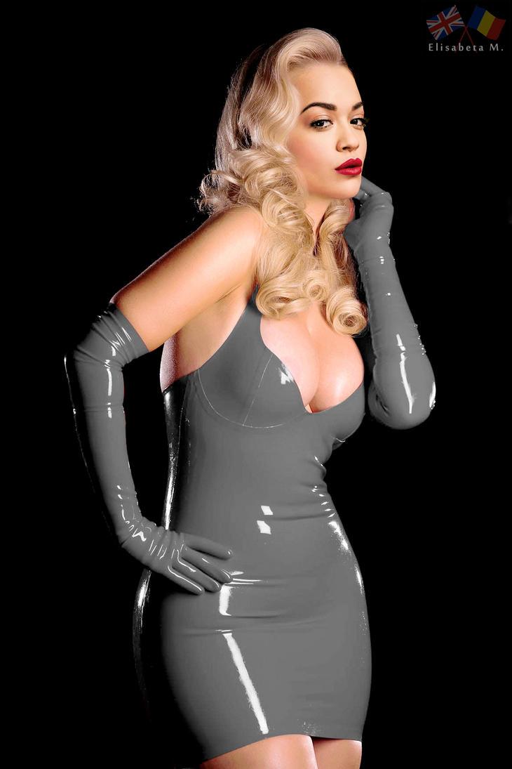 Rita Ora latex fake 01 v14 grey A by ElisabetaM