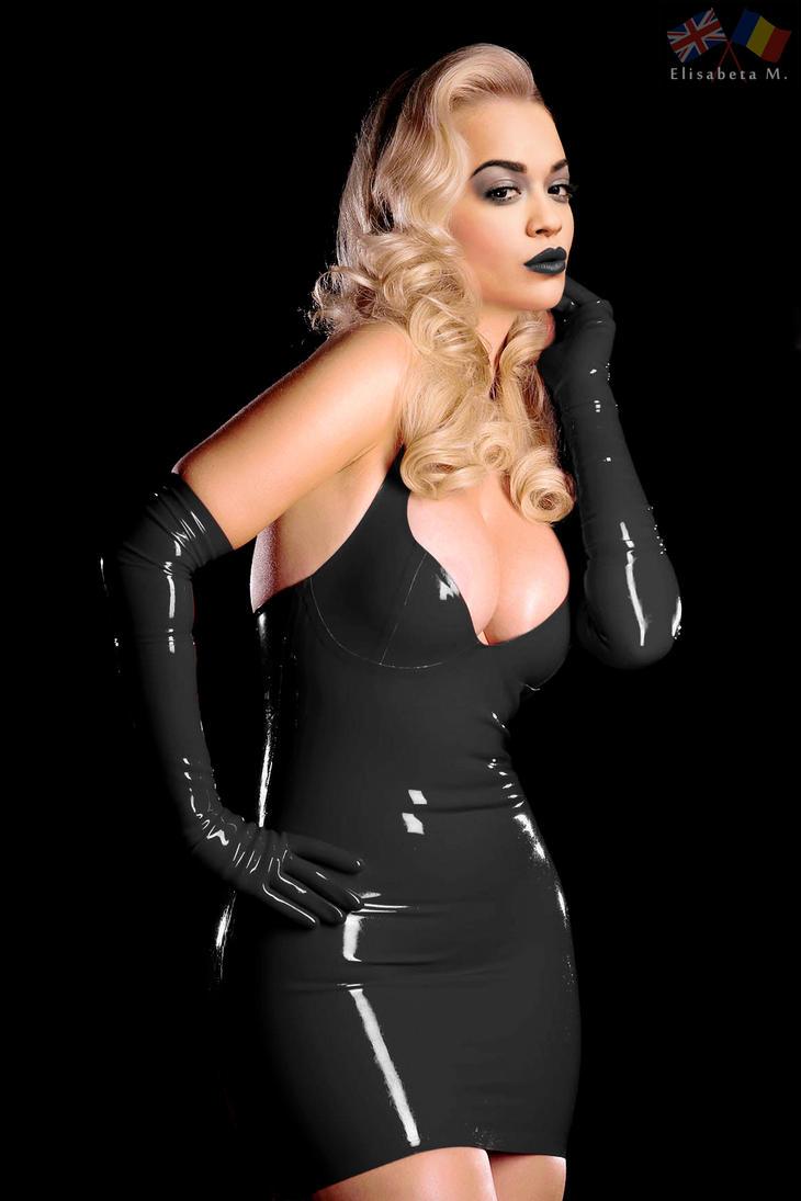 Rita Ora latex fake 01 v18 black C by ElisabetaM