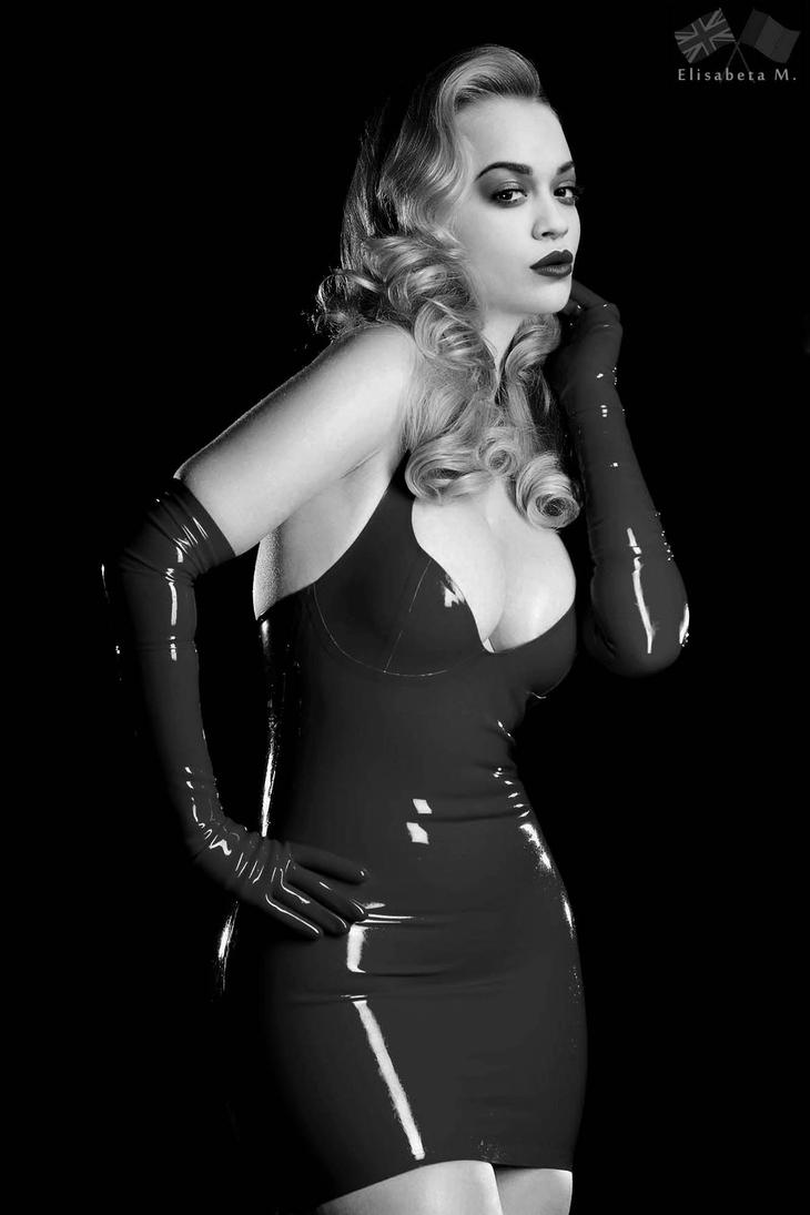 Rita Ora latex fake 01 v22 black and white by ElisabetaM