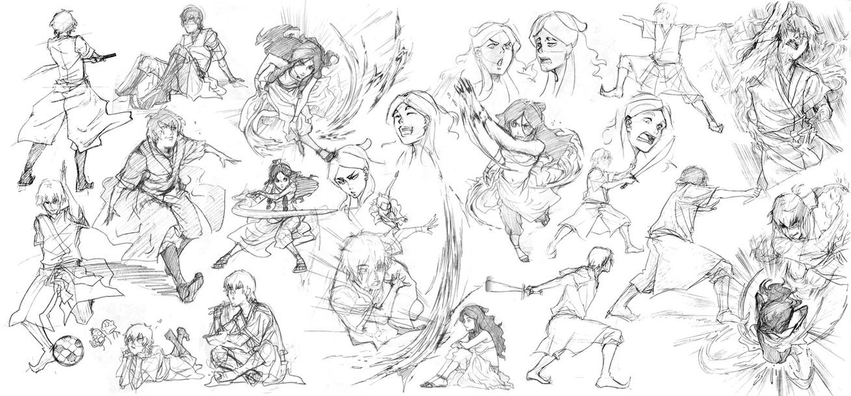 zuko katara scribbles by cwutieangel