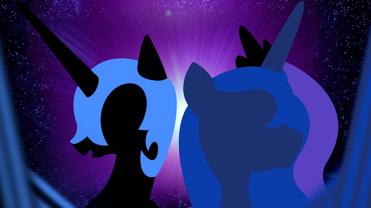 Nightmare Moon and Princess Luna Wallpaper by BlueDragonHans