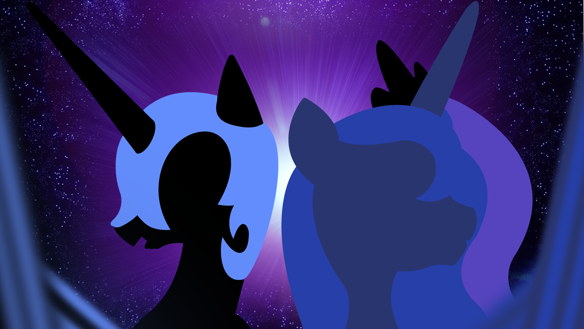 Nightmare Moon and Princess Luna Wallpaper by BlueDragonHans