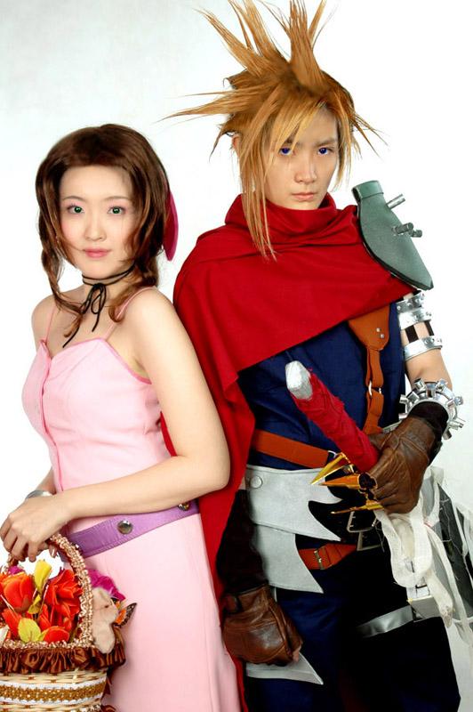Kingdom Hearts Cloud and Aeris by pinkyluxun