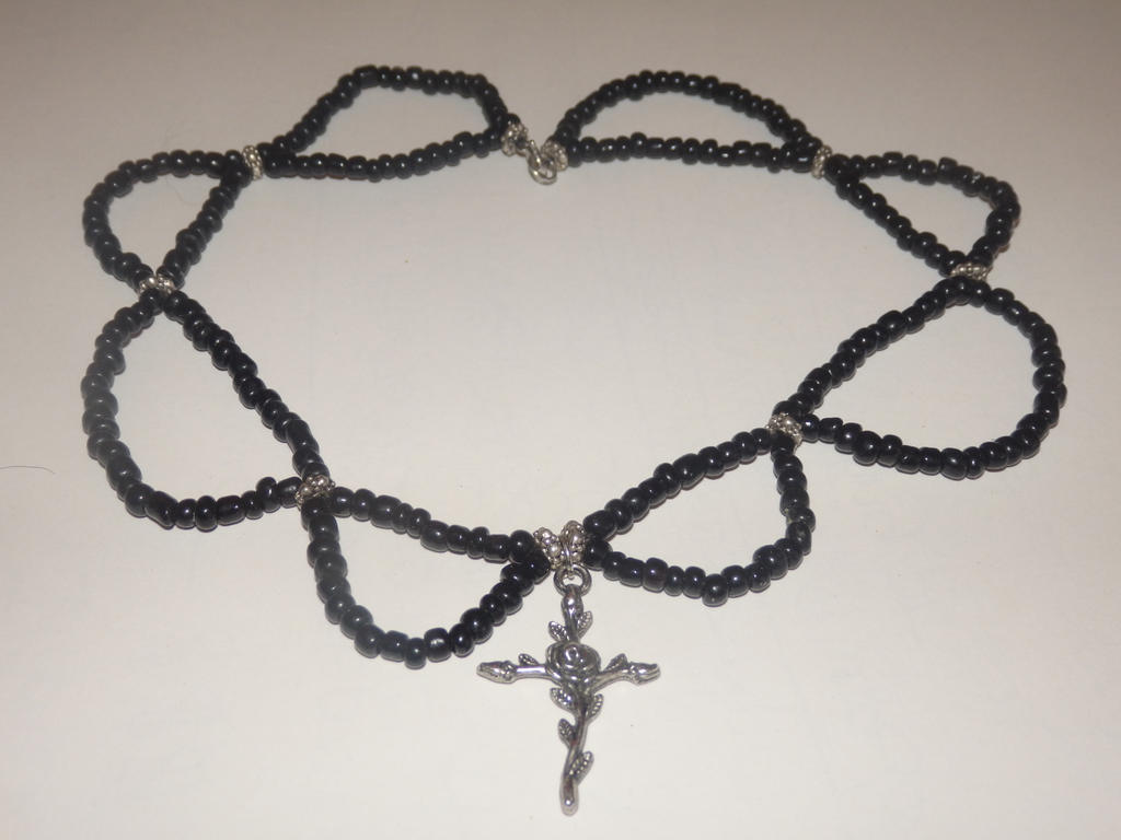 Black and Silver Choker with Rose Cross Charm by KiraUchiha666