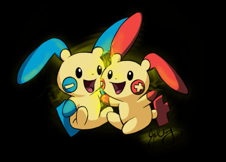 Plusle And Minun Wallpaper Plusle And Minun Huggl...