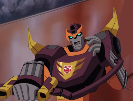 Hot Rod ready to attack the Autobot shuttle by du365