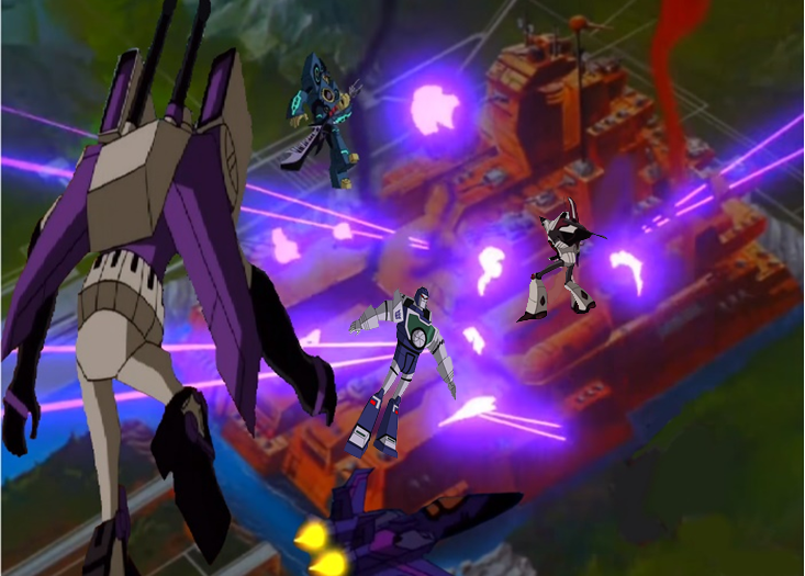 Decepticons above Autobot City by du365