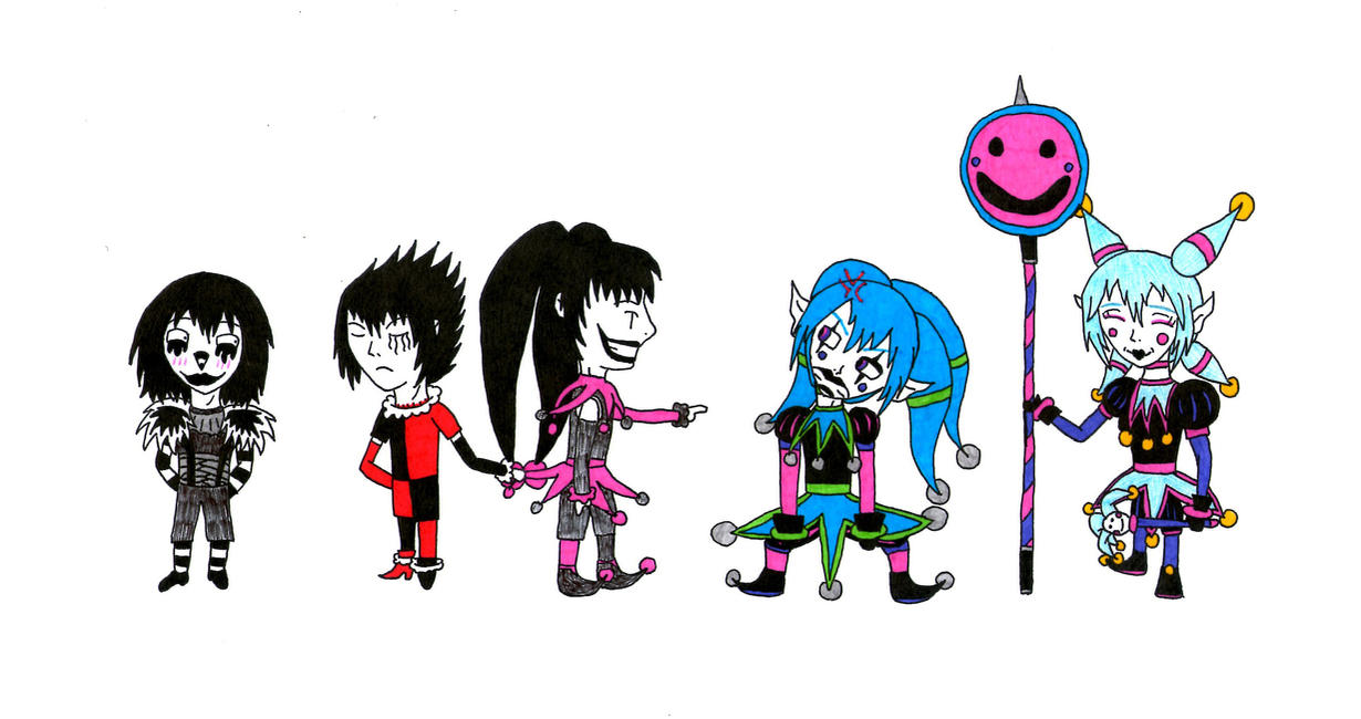 Chibi Clowns and Jesters or Candy Pop is angry by Gokumi