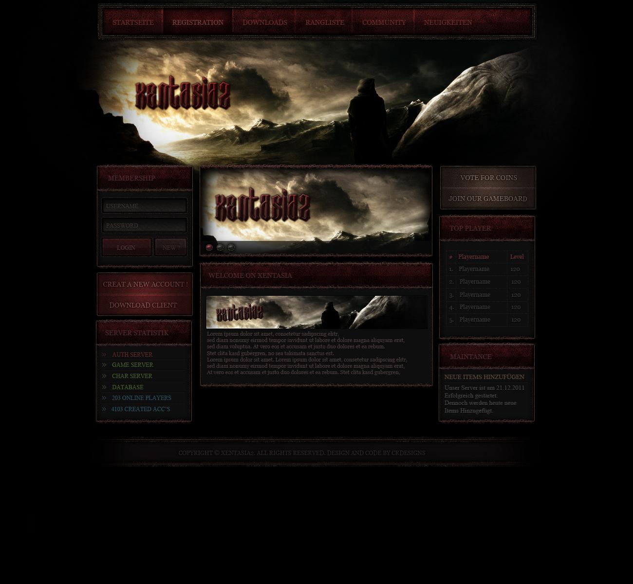 Metin2 Xentasia2 Webdesign