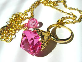 Fuchsia Gem Ring necklace by pinkminx