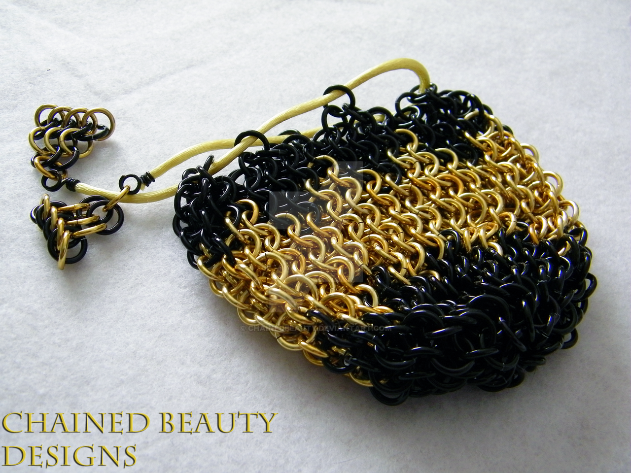 Black and Gold Chainmaille Bag by ChainedBeauty