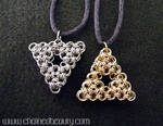Chainmaille Hyrule and Lorule Triforces