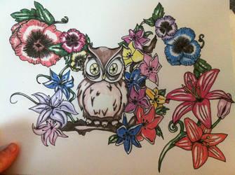 Owl half sleeve design by fukkinkrock