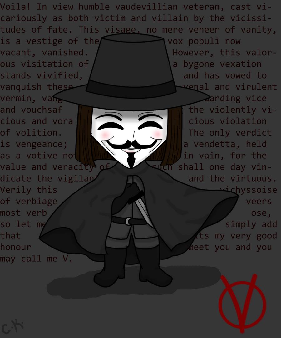 Chibi V  V for V...V For Vendetta Movie Wallpaper