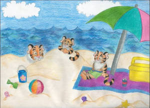 Tigers at the Beach