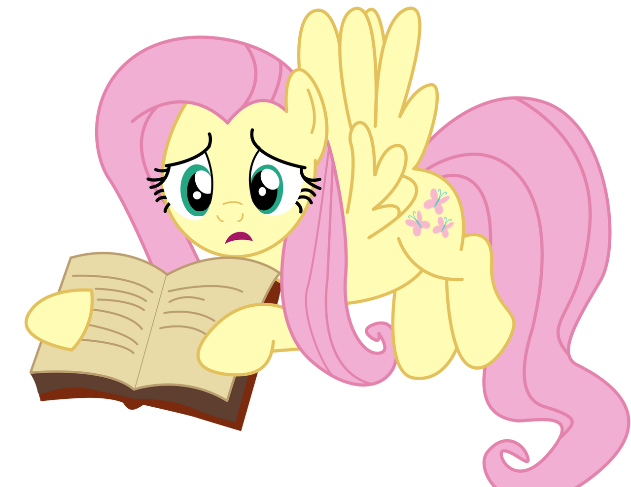 Fluttershy With a Book by PaulyVectors