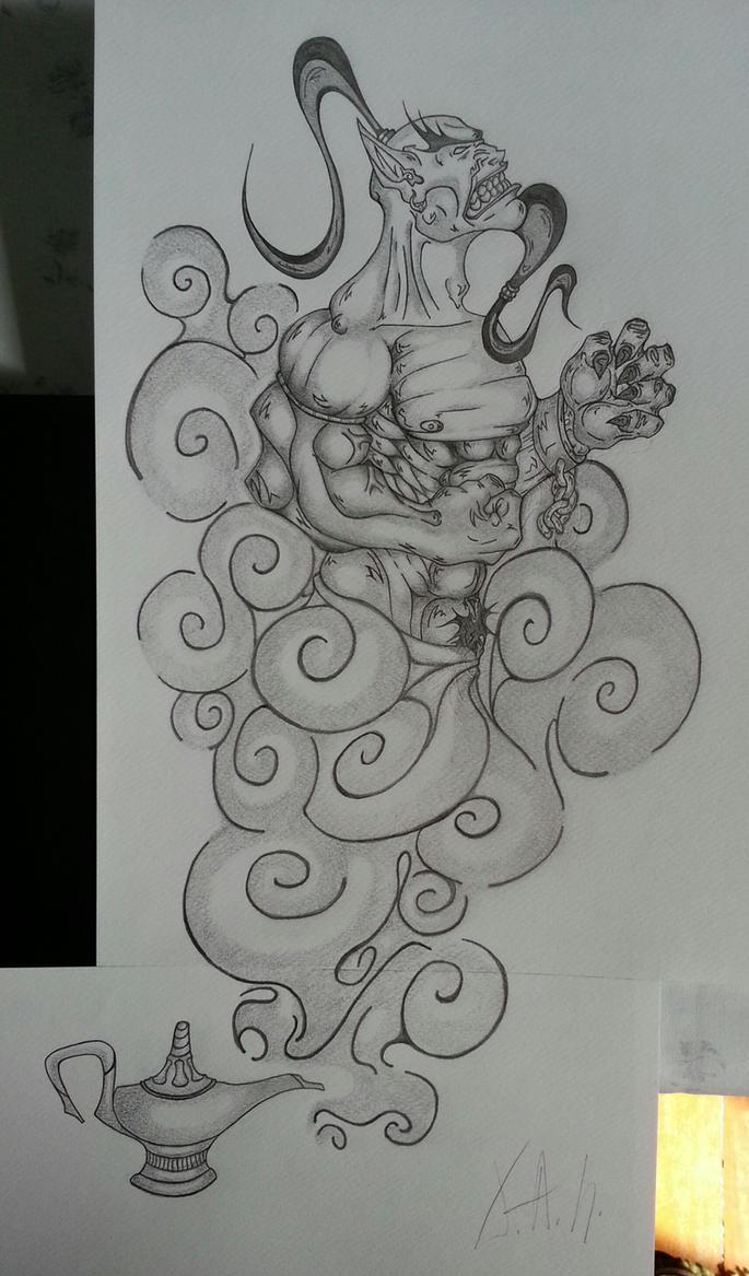 Genio della lampada by tagruooock on deviantart for Aladin tattoo salon